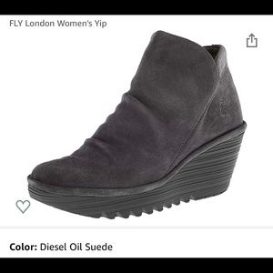 Fly London Suede Yip Ankle Wedge Boots